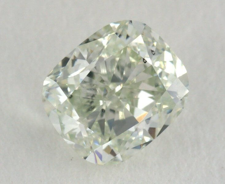 0.83 Carat, Natural Fancy Light Yellowish Green, SI1 Clarity, Cushion Shape, GIA
