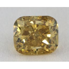 0.45 Carat, Natural Fancy Deep Brownish Yellow, Cushion Shape, I1 Clarity, GIA