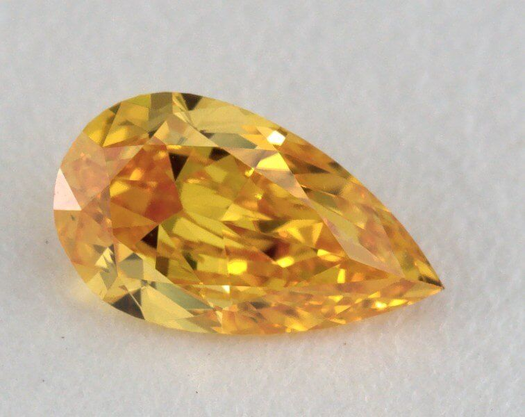 0.28 Carat, Natural Fancy Vivid Yellow-Orange, VS2 Clarity, Pear Shape, GIA