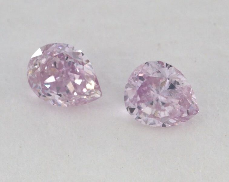 0.23 Carat, Pair of Natural Fancy Pink Purple, Pear Shape, SI1 Clarity, IGI