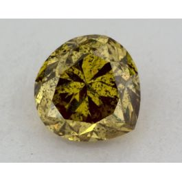 0.38 Carat, Natural Fancy Deep Brownish Greenish Yellow, Pear Shape, I1 Clarity, GIA