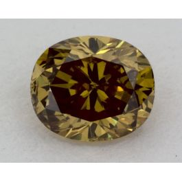 0.42 Carat, Natural Fancy Deep Brownish Greenish Yellow, Oval Shape, SI2 Clarity, GIA