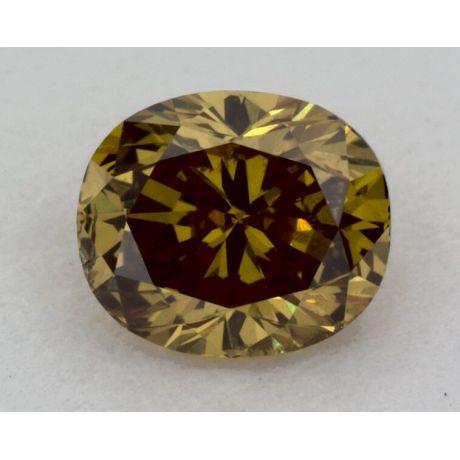 0.42 Carat, Natural Fancy Deep Brownish Greenish Yellow, Oval Shape, SI2 Clarity, GIA