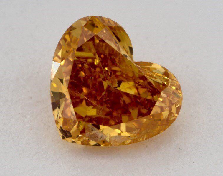 0.83 Carat, Natural Fancy Intense Yellow-Orange, Heart Shape, I1 Clarity, GIA