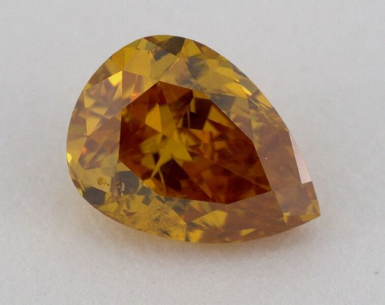 0.55 Carat, Natural Fancy Deep Yellow-Orange, Pear Shape, I1 Clarity, GIA