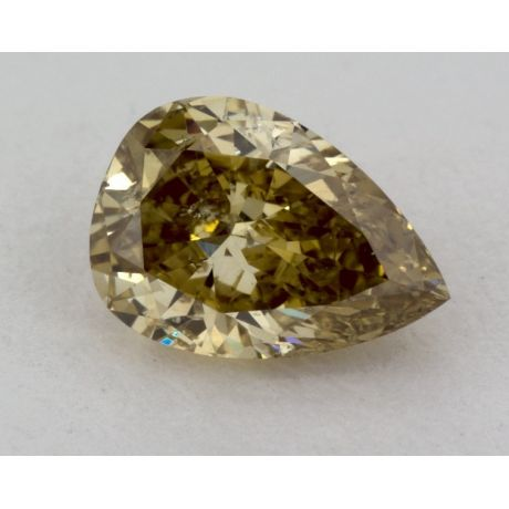 0.67 Carat, Natural Fancy Deep Brownish Greenish Yellow, Pear Shape, I2 Clarity, GIA