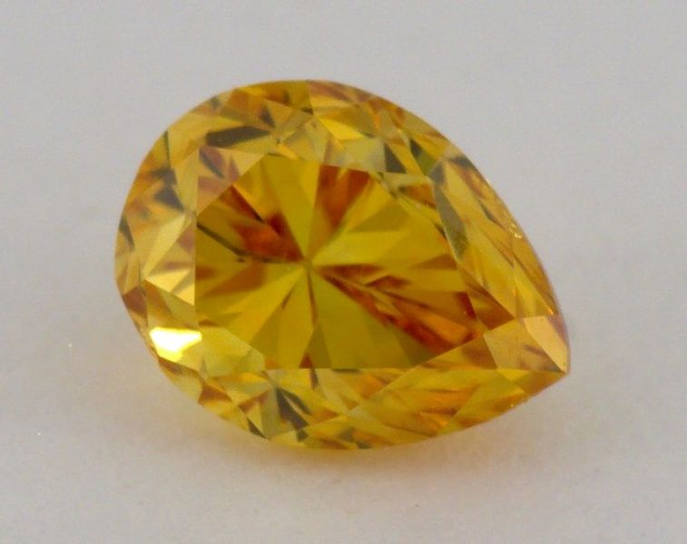0.31 Carat, Natural Fancy Deep Orange, Pear Shape, VS1 Clarity, IGI