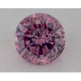0.08 Carat, Natural Fancy Deep Purple-Pink, Round Shape, I1 Clarity, GIA
