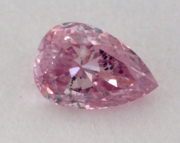0.09 Carat, Natural Fancy Intense Purplish Pink, Pear Shape, I1 Clarity, GIA