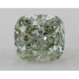 2.04 Carat, Natural Fancy Green, Cushion Shape, I1 Clarity, GIA
