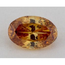0.56 Carat. Natural Fancy Deep Yellow - ORange, Oval Shape, I1 Clarity, GIA