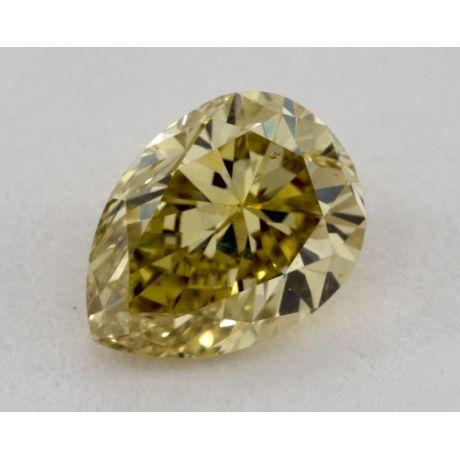 0.58 Carat, Natural Fancy Deep Yellow, Pear Shape, SI1 Clarity, GIA